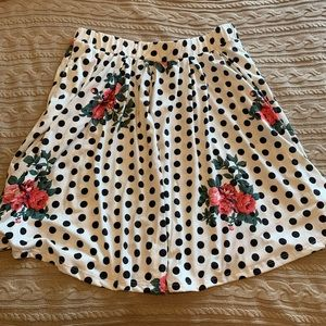 Polka Dot Floral Lularoe Madison Pleated Skirt